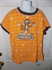 BOBBY JACK ORANGE MONKEY DROP THE CHOCOLATE SHIRT SIZE XL GIRL'S EUC