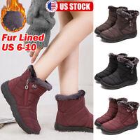 Women Winter Snow Booties Waterproof Warm Fur Lined Side Zip Ankle Boots Shoes
