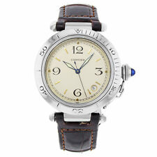 Cartier Pasha 1040 Brown Band Steel Cream Dial Automatic Men's Watch