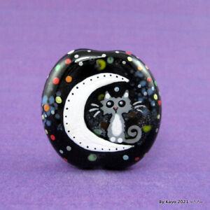 """THE STAR LIGHT STAR BRIGHT"" a handmade lampwork glass CAT focal bead byKayo SRA"