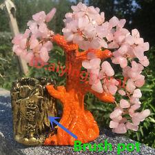 Natural pink crystal pen holder handmade landscape tree, quartz specimen 485g+