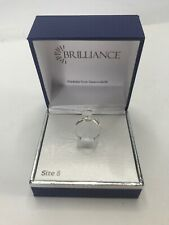 Brilliance Ring Crystals from Swarovski Silver Color Band Arrow with Gems Size 8