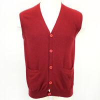 Cashmere Boutique 100% Cashmere Knit Soft Warm Red V-Neck Vest Sweater Large
