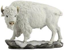 "10.75"" White Bison Animal Statue Decor Wildlife Buffalo Figurine Sculpture"