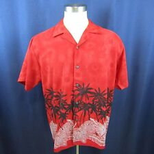 Ocean Current Men's Large Red Palm Trees Hawaiian Casual Camp Shirt Polyester