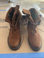 Brown suede Stuart Weitzman boots size 7 with chain detail and studded foldover