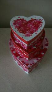 Set of 3 Valentine holiday decor heart shaped nesting stacking storage boxes