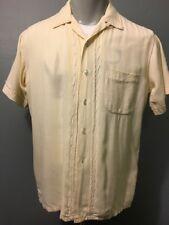 Vtg 50s 60s Rayon Gab Shirt Mens M Rockabilly VLV Short Sleeve Loop Atomic Silky