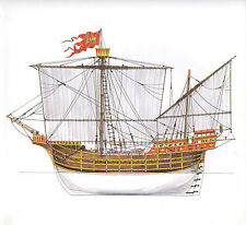 VINTAGE HISTORICAL SAILING SHIP PRINT VENETIAN CARRACK ARGOSY EARLY 15th CENTURY