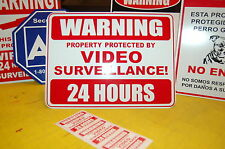 METAL security sign 9 x 12 warning VIDEO SURVEILLANCE CCTV camera + 3 lables