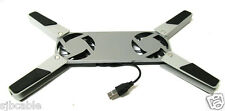 NEW Silver USB Folding 2 Fan Laptop Notebook Cooling Cooler Pad