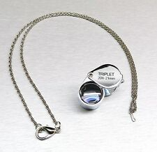 20X JEWELRY LOUPE JEWELERS TRIPLET 21MM SILVER LOUPE LEATHER CASE FREE CHAIN +