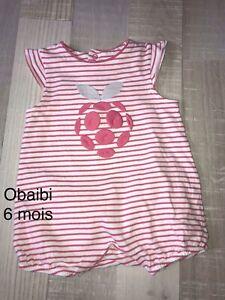 Obaibi Okaidi 6 MOIS Fille / Combinaison  Barboteuse Été Fraise Rose TBE