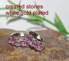princess 4mm pink sapphire DIAM0NDS 1.4cm hoops