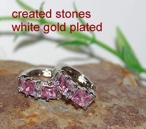 4mm princess pink sapphire-DIAM0NDS 1.4cm hoops