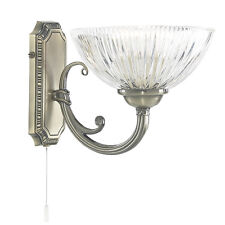 Searchlight Windsor II 1 Light Wall Bracket Antique Brass Clear Ribbed Glass Li