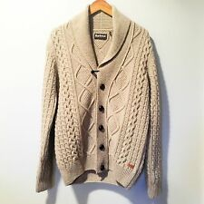 BARBOUR Fisherman Sweater Wool Shawl Collar Cardigan Leather Buttons SZ S