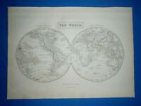 1847 Atlas Map ~ THE WORLD in HEMISPHERES Eng. by S. HALL ~ Antique & Authentic
