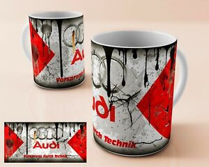 VINTAGE DISTRESSED AUDI OIL CAN MUG RETRO AUDI CAR  COFFEE CUP