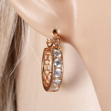 """9ct 9K Yellow """"Gold Filled"""" White Stones Small Hoop Earrings 22mm Gift"""