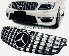 Mercedes C Class W204 AMG Grille Panamericana Look Black or Chrome Grill