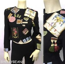 VTG 80s MOSCHINO COUTURE Cropped Jacket PATCHES TASSELS IT 42 Fits US 4 XS S WoW