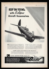 1942 Vintage Print Ad 40's WWII airplane BENDIX aviation republic fighter image