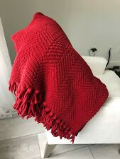 "Pottery Barn, GRAND CHENILLE, Throw Blanket 50""x60"" RED"