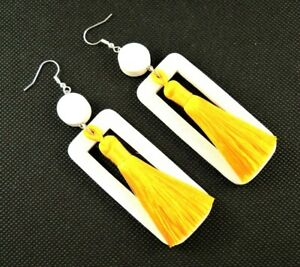 White Rectangle Lightweight Wood Dangle Earrings with Yellow Silk Tassels #2548