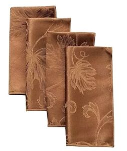 Autumn Vine Damask Napkins in Bronze Set of 4  17 x 17 Square Dinner Cloth