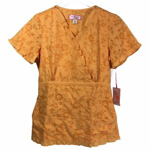 Koi Womens Scrub Top Small Pastel Orange Stitch Floral Ruffle V Elastic Waist