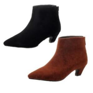 New Women Winter Warm Ankle Boots Kitten Heel Pointy Toe OL Office Shoes 34-54 D