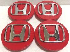 "4 Pcs, Wheel Center Cap, Honda Red Chrome Logo, 69 MM / 2.75"" -H4- Accord Civic"