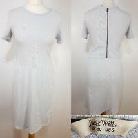 Jack Wills Pale Blue Cotton T-shirt Skater Dress Size 10 Summer Holiday