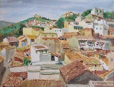 Maurice TISSEYRE 1920-2017.Village du Maghreb.Aquarelle.50x65.SBD.