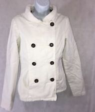 Billabong Women's Coat Jacket Size Medium Off White Brown Buttons