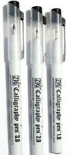 3 X Chislled Nib Calligraphy Pens- 1,2,3mm Italic, Arabic, Persian Black.