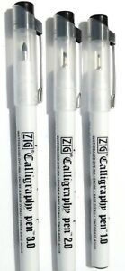 3 X CHISLLED NIB CALLIGRAPHY PENS-  1,2,3mm  ITALIC, ARABIC, PERSIAN BLACK.