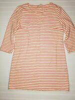 J. Crew Women's Size Small Striped white coral sheath bodycon mini dress E23