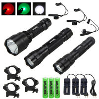 C8 5000LM T6 White/Green/Red LED Flashlight Predator Hunting Light Refle Mount