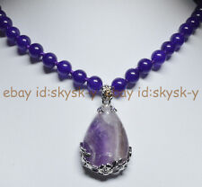Natural Amethyst 25x35mm Teardrop Pendant 8mm Purple Round Beads Gems Necklaces