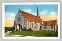 Bristol VA, St Ann's Catholic Church, Linen Virginia Postcard