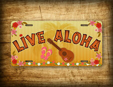 Live Aloha Hawaiian License Plate Flip Flops Palm Trees Lei Flowers Hawaii Sign