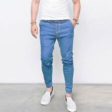 Moderno HOMBRE Ajustado Vaqueros Pantalones de Jogging Cintura Elástica Pitillo