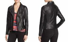 Aqua Womens Sz XS Black Leather Jacket Fold-over Collar Long Sleeve $298
