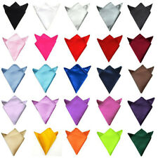 Mens Solid Color Plain Satin Wedding Party Hanky Pocket Square Handkerchief