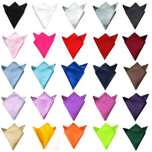 Mens Solid Color Plain Satin Wedding Party Hanky Pocket Square Handkerchief