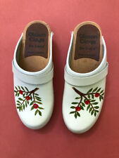 Vtg Olsson Swedish white hand painted Clogs Wood & Leather - 36 or Us sz 6 /6.5