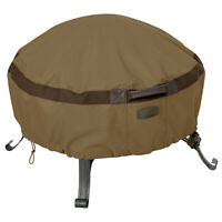 Classic Accessories Heavy Duty Tan Patio Fire Pit Cover, Hickory