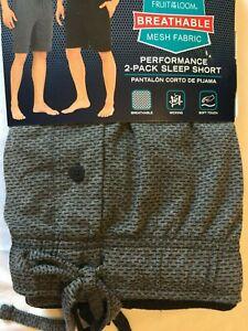 NWT Fruit of Loom Men's Performance Sleepwear SHORT Lounge 2 SHORTS Sleep Mesh